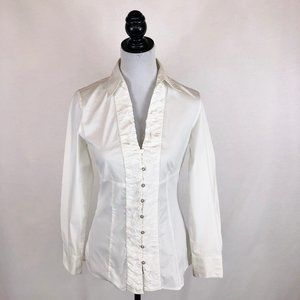 WHBM fitted white button down shirt